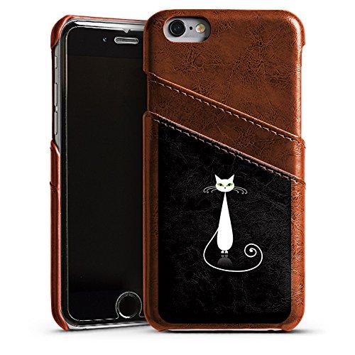 Apple iPhone 4 Housse Étui Silicone Coque Protection Chat Chat Blanc Étui en cuir marron