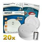 20x Nemaxx WL10 Funkrauchmelder - mit 10 Jahre Lithium Batterie Rauchmelder Feuermelder Set Funk koppelbar vernetzt - nach DIN EN 14604 + 20x NX1 Quickfix Befestigungspad