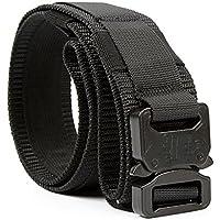 Yisibo Cinturón Táctico Militar Estilo 1.5 Pulgadas Hombres/Mujeres Cinturones Cinturón de Cintura Ajustable con Sistema Molle Hebilla de Metal de Liberación Rápida(Negro,XL)
