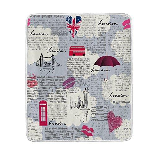 Use7 Home Decor Vintage periódico London Union Jack Lips Manta Suave cálida...