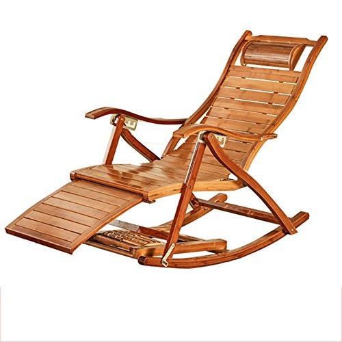 Fauteuil Inclinable En Bambou Chaise Longue Pliante En Bambou Naturel Design Ergonomique 170 ° Couleur Primaire Réglable