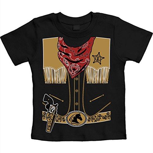 Mega Cooles Cowboy Kostüm Karneval Sheriff Unisex Baby T-Shirt Gr. 66-93 6-12 Monate / 76 Schwarz