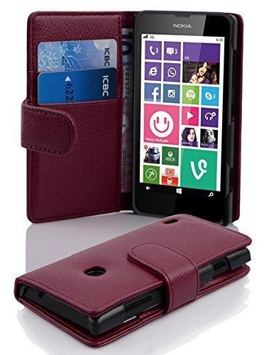 Preisvergleich Produktbild Cadorabo Hülle für Nokia Lumia 630 / 635 - Hülle in BORDEAUX LILA – Handyhülle mit Kartenfach aus struktriertem Kunstleder - Case Cover Schutzhülle Etui Tasche Book Klapp Style