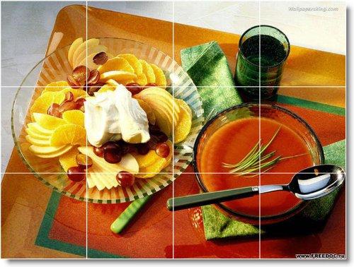 ALIMENTOS FOTO MURAL DUCHA AZULEJO F029  18 X 60 96 CM CON (12) 6 X 6 AZULEJOS DE CERAMICA