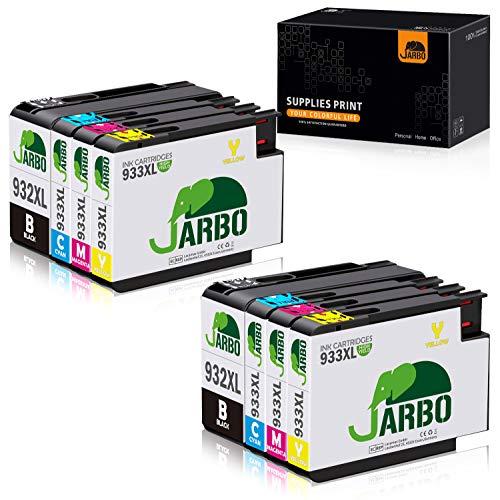 JARBO 932XL 933XL Ersatz für HP 932 XL 933 XL Druckerpatronen hoher Reichweite kompatibel mit HP Officejet 6100 6600 6700 7110 7610 7612, 2 Schwarz/2 Blau/2 Rot/2 Gelb, 8er-Pack