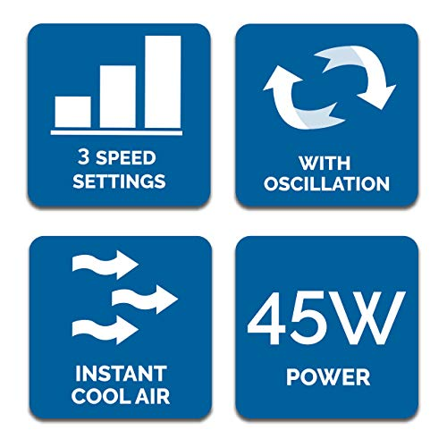 51hk84CrvXL. SS500  - Fine Elements COL1258 32-Inch Tower Slim, 3 Speed Settings, 2 Hour Timer, Portable Floor Fan, Wind Rotor-White, One Size