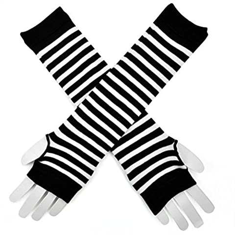 Topro Fingerless Gothic Striped Gloves Long Arm Sleeves Stretchy Color White
