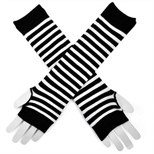 Veroda Gothic gestreifte fingerlose Handschuhe Stretch (Gestreifte Fingerlose Handschuhe)