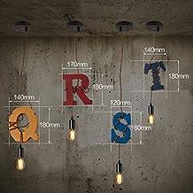 Lámpara de Madera de la Letra del Arte, Decoración Retro Creativa del Restaurante Sola Cabeza E27 Tienda de Ropa Bar Decoración de la Ventana Grueso de la ...