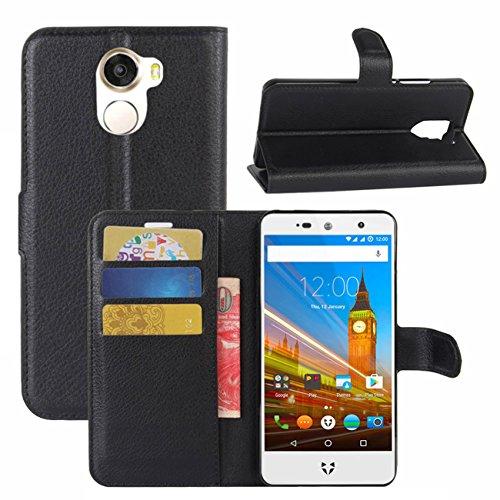 HualuBro Wileyfox Swift 2 X Hülle, Premium PU Leder Leather Wallet HandyHülle Tasche Schutzhülle Flip Case Cover mit Karten Slot für Wileyfox Swift 2X Smartphone (Schwarz)