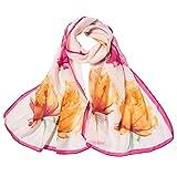 Xmiral Damen Schal Mode Blumendrucken lange weiche Wrap Elegante glamouröse Schal Schal Schals(Rot)