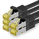 1aTTack.de Cat.7 Netzwerkkabel 1,5m - Schwarz - 5 Stück - Cat7 Ethernetkabel Netzwerk LAN Kabel Rohkabel 10 Gb/s (Sftp Pimf) Set Patchkabel mit Rj 45 Stecker Cat.6a