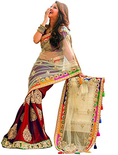 TRYme Fashion Georgette Red Women's Heavy Saree