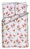 Brandsseller Baumwoll-Satin Bettwäsche Bettbezug Garnitur Set Laura - für Kopfkissen und Bettdecke - mit Reißverschluss -Magnolie