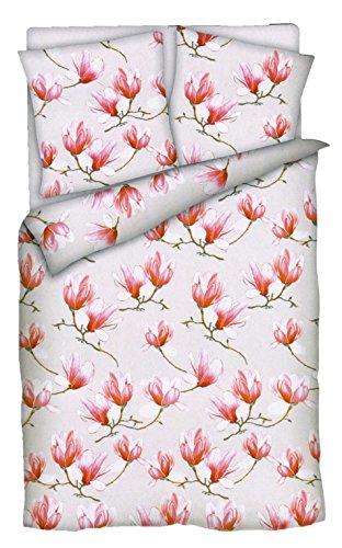 Brandsseller Baumwoll-Satin Bettwäsche Bettbezug Garnitur Set Laura - für Kopfkissen und Bettdecke - mit Reißverschluss -Magnolie -