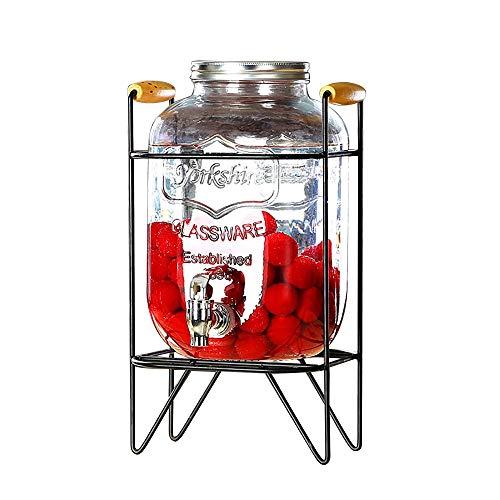 CSQHCZS-FQ Dispensador De Bebidas con Soporte Mason Jar   Dispensador De Bebidas 4L / 5L / 8L con Grifo Y Tapa Sin Fugas   Dispensador De Jugo Frío   Fiestas Restaurantes Hoteles Buffets ++