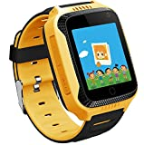 Wayona Kids Tracker Touch screen Smart Wrist Watch with Remote Camera Capture GPS & GSM System with flashlight . (Yellow)