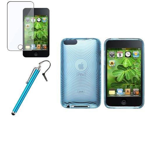 Klare Blau Gel Tasche Hülle + Stift +3x Folie für Apple ipod Touch 2 3 3G 2G Gen