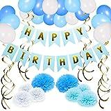 NextDeko Hochwertige Geburtstag Deko Blau Weiß - Happy Birthday Girlande, Geperlte Ballons, Pompoms, Spiralen - Geburtstagsdeko Party Deko Kindergeburtstag Zubehör Set Jungen Männer