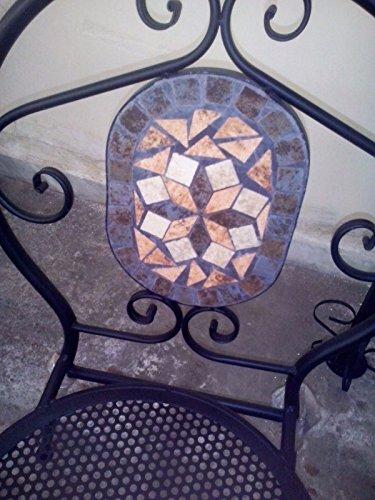 Sedie ferro battuto con mosaico in terracotta - fercolornola.it