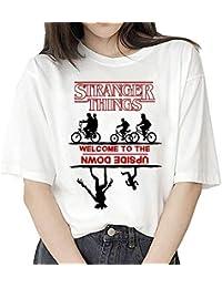 Camiseta Stranger Things Niña, Camiseta Stranger Things Mujer, Impresión T-Shirt Abecedario Camiseta Stranger Things Temporada 3 Camisa de Verano Regalo Camisetas y Tops