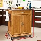 SoBuy® Luxus-Küchenwagen aus hochwertigem Bambus mit Edelstahltop, Küchenschrank, Kücheninsel B66xT46XH90cm FKW13-N - 7
