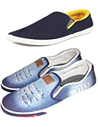 658a31af443 Fitbloom Men s Combo Pack Of 2 (Denim Blue Loafer) Combo Casual Shoes (