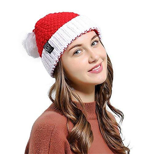 ZHRUI Hüte, Männer Frauen Unisex Weihnachten Kappen Warme Winterhäkelarbeit Schirmmütze Mütze Sehr weiche und Bequeme Mütze Hüte Erwachsene Deluxe Plüsch Weihnachtsmann Partyhut (Deluxe Cap Skull)