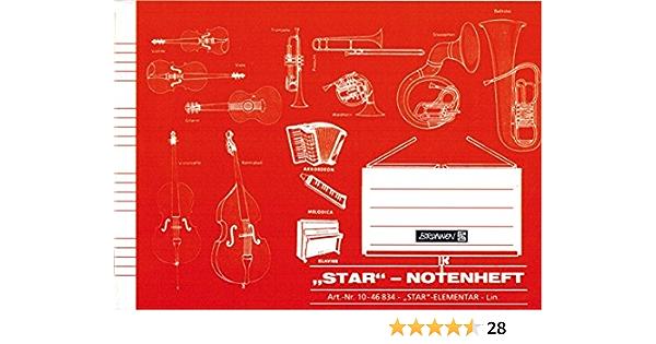 DIN A 5 quer 6 Systeme mit Hilfslinien NEU! STAR 514 Notenhefte