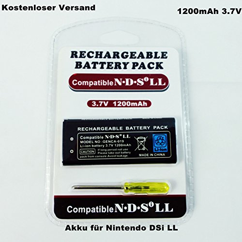 LS Premium Akku Batterie für Nintendo DSi LL 1200mAh 3.7V Batterie Ersatzakku