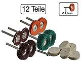 12 teiliges Set Polierscheiben aus Filz, Leder, Sandpapier und Schwamm für Minischleifer