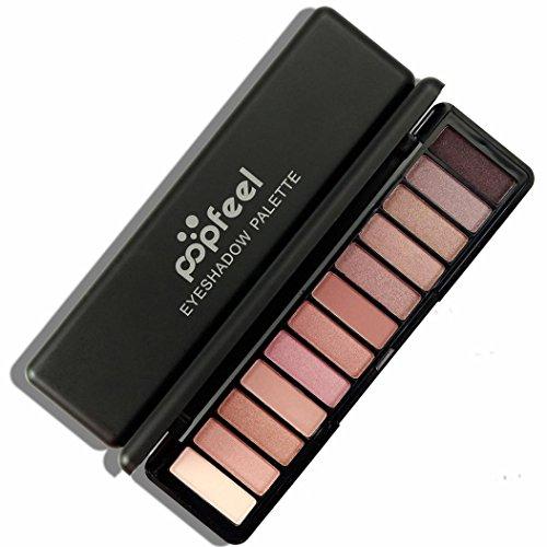LONUPAZZ 12 Couleur Cosmetic Maquillage Palette Femme Fards à Paupières Crème Shimmer Eyeshadow Matte (B)