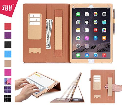 iPad Pro Hülle,iPad Pro 12.9,Fyy® [Super Functional Series] Hochwertige Kunstleder Hülle mit elastitcher Handschlaufe und Halterungen für Karten, Notizen für Apple iPad Pro 12.9 (2015 Edition),Gold (mit automatischer Schlaf/ Weck-Funktion)