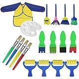 RUNFON 18 Pcs Brosses de Peinture Enfant Pinceaux Ensemble Enfants Éponge Dessin Art DIY Outils avec Palette et Tablier Rouleaux de Peinture