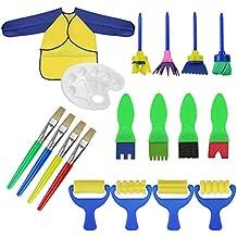 18 piezas Aprendizaje temprano esponja pinceles de pintura y paleta para niños gouache Craft pinceles y delantal Herramientas de pintura
