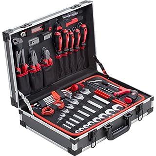 Meister Werkzeugkoffer 121-teilig - Stabiler Alu-Koffer - Werkzeug-Set - Für Haushalt, Garage & Werkstatt / Profi Werkzeugkoffer befüllt / Werkzeugkiste / Werkzeugbox komplett mit Werkzeug / 8971460