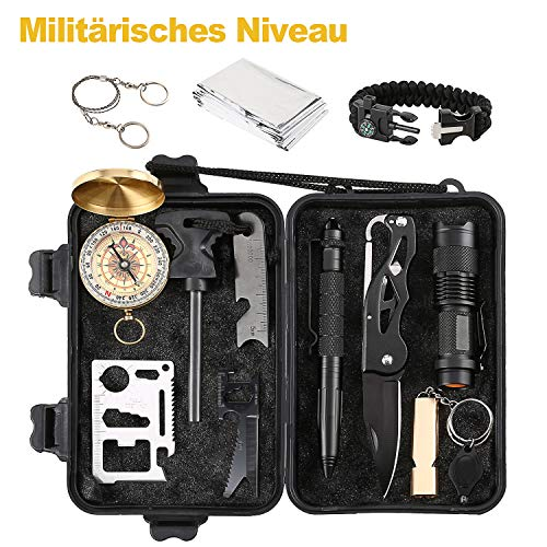 Survival Kit Hohe Qualit?t,überlebens kits Survival Outdoor Gear Kit Set mit Survival Armband Emergency Blanket Draht sah Feuer Starter Whistle Survival Messer Taschenlampe Tactical Pen etc.