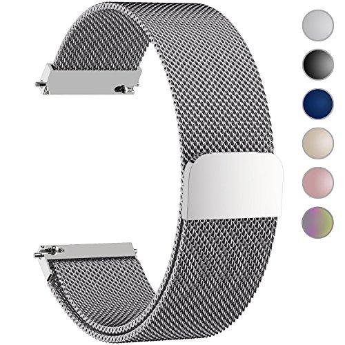 Fullmosa 6 Farben Für Milanese Uhrenarmband, Milanese Smart Watch Armand Ersatzband mit Edelstahl Magnet-Verschluss Watch Replacement für 20mm Silber