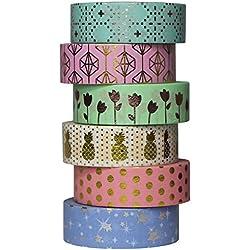 UOOOM 6 rouleaux Washi Tape Doré Ruban Adhésif Papier Décoratif Masking tape Scrapbooking