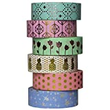 UOOOM 6 Rolls 10m x 15mm Beautiful Farbe und Gold Washi Tape Masking Tape deko Klebeband buntes Klebebänder DIY Scrapbook deko (Design 9061)
