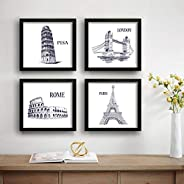 SAF Tower Architecture Set of 4 UV Textured Painting (19 x 19 Inches, SAF_SET4_11)