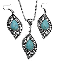 Diadia Smartwatch Fashion Retro Leaf Turquoise Shape Jewelry Necklace Earring Ring Jewelry Set of Party,Bridesmaids & Prom Perfect Accessory Set