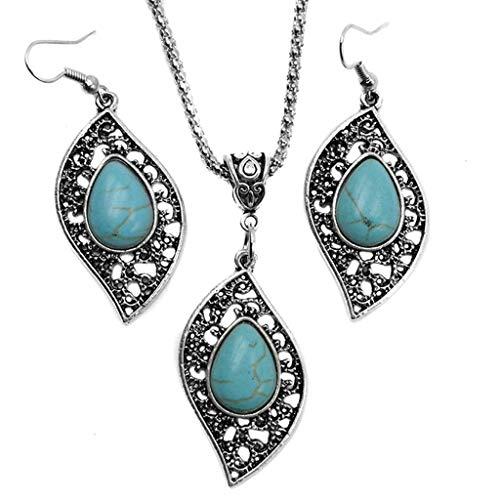 Yvelands Retro Design Blatt Türkis Halskette Ohrringe Modeschmuck ()