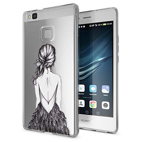 NALIA Handyhülle kompatibel mit Huawei P9 Lite 2016, Slim Silikon Motiv Case Cover Hülle Crystal Schutzhülle Dünn Durchsichtig, Etui Handy-Tasche Back-Cover Smart-Phone Bumper, Motiv:Bird Princess