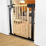 Türschutzgitter Holz Extra Breit Hund/Katze/Haustier Tür für Treppen Eingang Indoor Baby Gates Druck montiert, 76-153 cm Breit (Größe : 104-111cm)