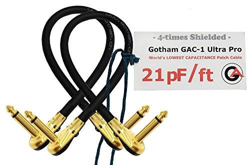 2Einheiten–Gotham gac-1Ultra Pro–30,5cm (30cm)–low-cap (21PF/FT) Gitarre Bass Effekte Instrument, Patch Kabel mit vergoldeten, Low-Profile, rechts abgewinkelt Pancake Typ TS (6,35mm) Anschlüsse