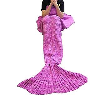 Mermaid Tail Blanket Crochet and Mermaid Blanket for Adult, Super Soft All Seasons Sleeping Blankets(71''x35'', Pink)