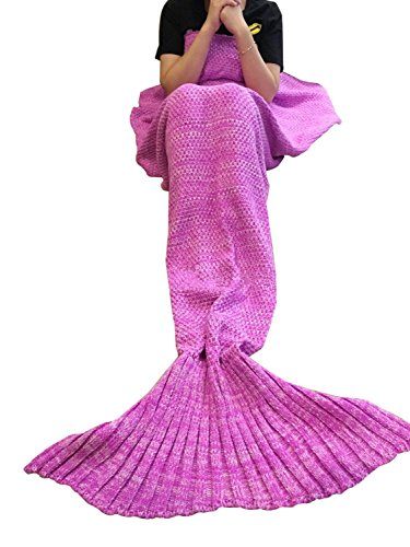 Lana sirena coperta a coda a forma di sirena, utilizzabile come coperta per divano letto, adulti (180 * 90cm),rosa