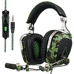 SADES SA926T Auriculares estéreo para juegos para PS4 Nuevo Xbox One, Auriculares para bajos superpuestos con micrófono y control de volumen en línea para computadora portátil, PC, Mac, iPad, computadora, teléfonos inteligentes (camuflaje)