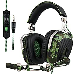 SADES SA 926 Stereo Gaming Headset Over-Ear-Kopfhörer mit Mikrofon für PS4 / PS3 / Xbox One / Xbox 360 / PC / Mac / Smart Phone / iPhone (Armee-Grün)